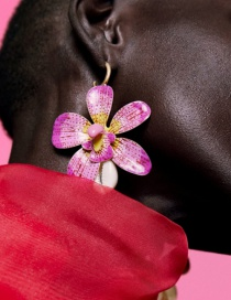 Fashion Pink Spray Paint Flower Earrings