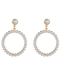 Fashion White Large Circle Alloy Inlaid Pearl Earrings