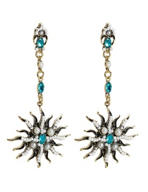 Fashion Ancient Gold Rice Beads And Diamonds Sun Flower Earrings
