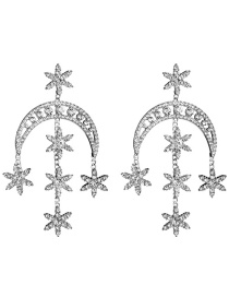 Fashion Silver Multilayer Moon Star Acrylic Diamond Earrings