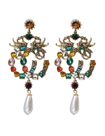 Fashion Color Pearl And Diamond Earrings