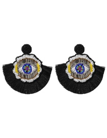 Fashion Black Rice Beads Earrings