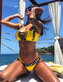 Fashion Yellow Shoulder Strap Love Bikini