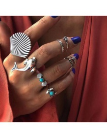 Fashion Silver Shell Whale Tail Pine Rose Alloy Ring Set Of 8