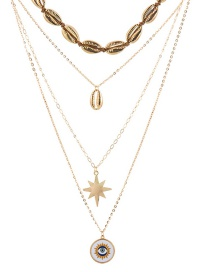 Fashion Gold Shell Six-pointed Star Eye Alloy Multi-layer Necklace
