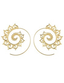 Fashion Gold Round Gear Spiral Auspicious Earrings