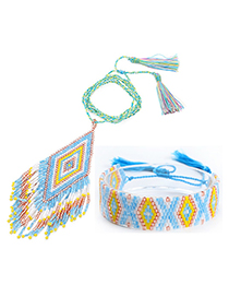 Fashion Blue Suit Fringed Woven Necklace Bracelet Set