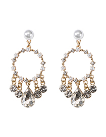 Fashion Gold S925 Silver Needle Round Diamonds Pearl Fringed Crystal Earrings