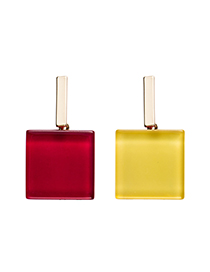 Fashion Red Contrast Acrylic Transparent Square Stud Earrings