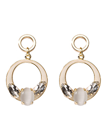 Fashion White 925 Silver Needle Drop Geometry Quilted Diamond Earrings