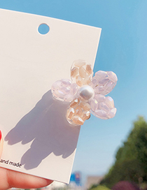 Fashion Pink (crystal) Flower Rainbow Pearl Hair Clip