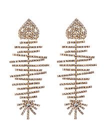 Fashion Gold Alloy Studded Fish Bone Earrings