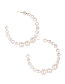 Fashion White Alloy Pearl Round Earrings