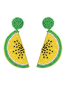 Fashion Yellow Alloy Rice Beads Watermelon Earrings