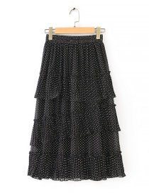Fashion Black Polka Dot Cake Skirt