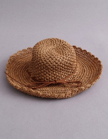 Fashion Light Brown Bow Petal Cap 檐 Foldable Straw Hat