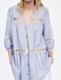 Fashion Blue Striped Stitching Top
