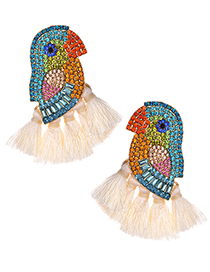 Fashion White Alloy-studded Parrot Tassel Earrings