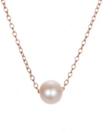 Fashion Rose Gold Pearl Stainless Steel Necklace