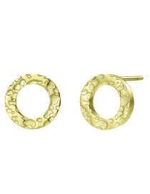 Fashion Gold Stainless Steel Geometric Round Earrings
