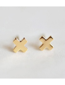 Fashion Gold Stainless Steel Cross Stud Earrings
