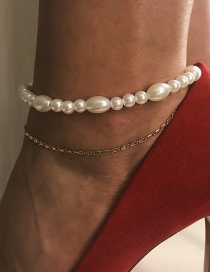 Fashion Gold Metal Asymmetric Pearl Chain Multi-layered Anklet