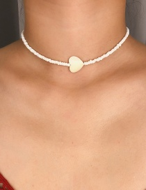 Fashion White Rice Bead Scallop Heart Beaded Necklace