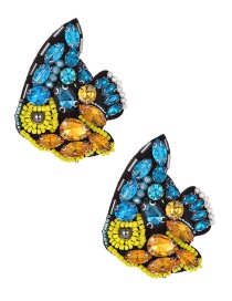 Fashion Color Rice Beads With Diamond Fish Earrings