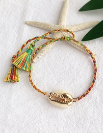 Fashion Color Alloy Woven Shell Beads Bracelet