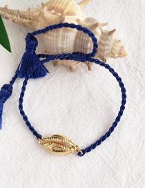 Fashion Navy + Gold Alloy Woven Shell Bracelet
