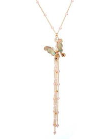 Fashion Gold Drip Oil Butterfly Fringed Diamond Necklace