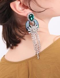 Fashion Green Geometric Crystal Studded Tassel Earrings
