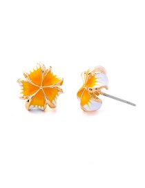 Fashion Yellow S925 Silver Acupuncture Drip Oil Flower Earrings