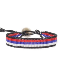 Fashion Red: Blue And White Mika Beads Woven Buckle National Flag Bracelet