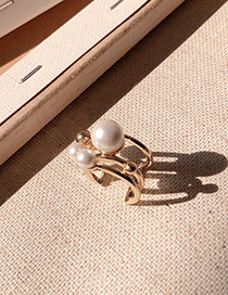 Fashion Ring Gold Multi-layer Pearl Ring