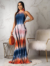 Fashion Rainbow Strip Printed Gradient Striped Openwork Tie-dye Dress