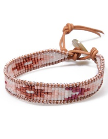 Fashion Pink Rice Beads Woven Bracelet