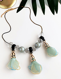 Fashion Blue Green Alloy Resin Flower Necklace