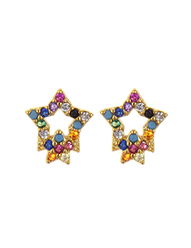 Fashion Gold Copper Inlaid Zircon Pentagonal Earrings