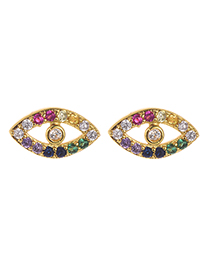 Fashion Gold Copper Inlay Zircon Eye Studs
