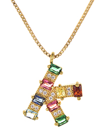 Fashion K Gold Color Copper Inlaid Zircon Letter Necklace