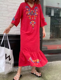 Fashion Red Cotton And Linen Embroidered Dress