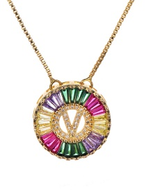 Fashion V Multi-color Copper Inlaid Zircon Letter Necklace