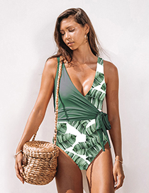 Fashion Green Lace-up Floral Color Matching Asymmetrical One-piece Swimsuit