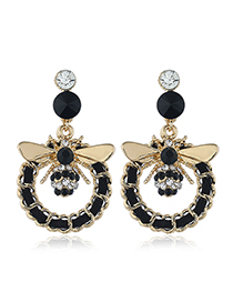 Fashion Black Insect Alloy Tassel Earrings