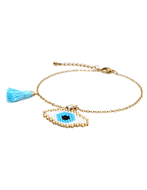 Fashion Blue Tassel Stainless Steel Color-protecting Woven Eye Bracelet