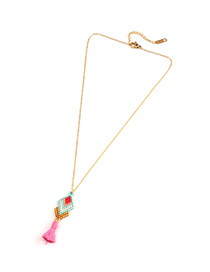 Fashion Pink Tassel Rice Beads Woven Geometric Necklace