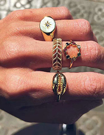 Fashion Gold Alloy Shell And Diamond Ring Set Of 4