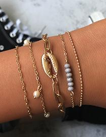 Fashion Gold Rice Beads Shell Bracelet 5 Piece Set