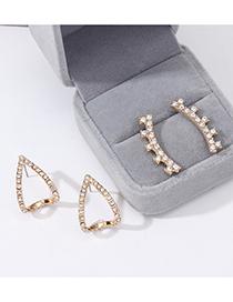 Fashion Gold Geometric Diamond Earrings